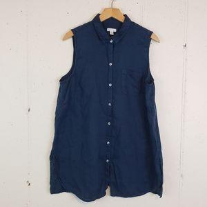 J. Jill L Navy sleeveless linen button down top